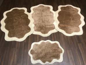 GYPSY TRAVELLERS MATS  4PCS NON SLIP NEW DESIGN SUPER THICK CREAM/ DARK BEIGE BARGAINS (2) (4) (6)